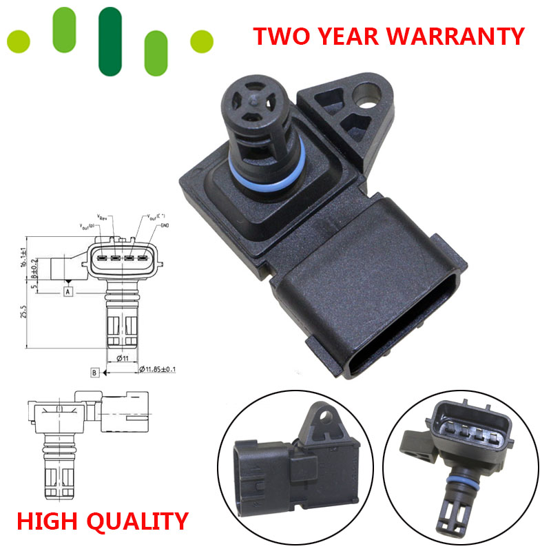 4 BAR 4Bar MAPPA Collettore di Aspirazione Sensore di Pressione D'aria Per Peugeot KIA Citroen Hyundai Renault 80018383 5WK96841 2045431 5WY2833A