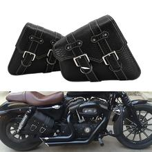 1 Pair Right Left Side Saddle Bag Tool PU Black Style Motorcycle Saddlebags For Harley 1 pair left