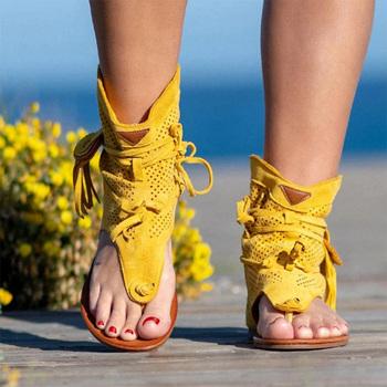 MCCKLE damskie sandały gladiatorki Clip Toe buty damskie obuwie damskie Tassel rzym kapcie damskie sandały damskie lato tanie i dobre opinie Flock CN (pochodzenie) Ankle wrap Mieszkanie z NONE Otwarta RUBBER Niska (1 cm-3 cm) 0-3 cm Na co dzień Slip-on Pasuje prawda na wymiar weź swój normalny rozmiar