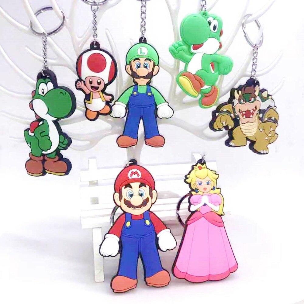 Juego Super Mario Bros cosplay llavero de PVC princesa María moda divertida silicona para llaves llavero colgante para bolso joyería juguete
