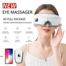 Masseur pour les yeux 4D intelligent, lunettes de Massage à Vibration avec Airbag, Bluetooth, Instrument à chaud compression, pochette pour Fatigue et rides