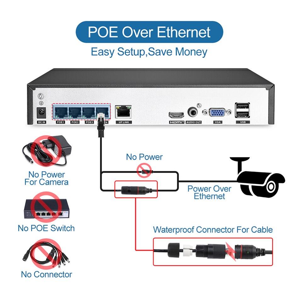 Techage 4CH 5MP POE NVR AI système de caméra IP de détection humaine H.265 Kit Audio bidirectionnel de Surveillance vidéo de vidéosurveillance de sécurité HD extérieure - 2