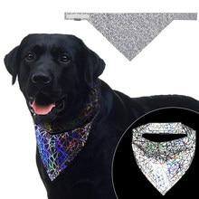 Animal de estimação reflexivo bandana alta visibilidade lenço do cão colorido segurança neckerchief para cães gatos coleira câmara