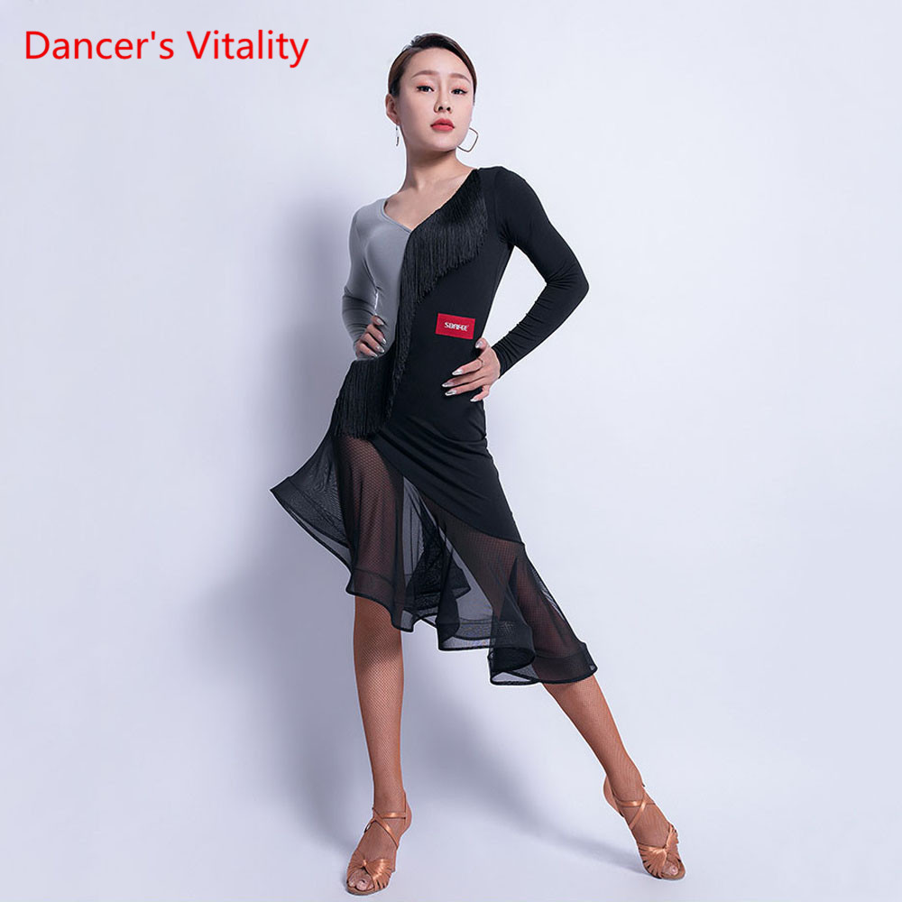 Latin Dance Female Adult Long Sleeve Dress Sexy Tassel Performance Clothes New V-neck Professional Practice Clothing