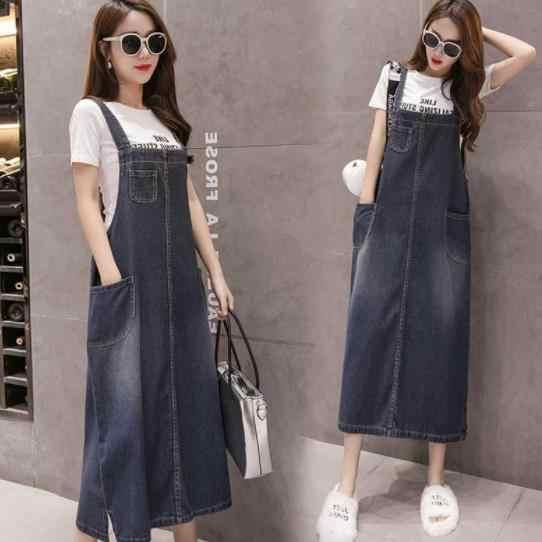 فستان طويل من الجينز للنساء من Vestido مقاس كبير 5XL فستان جينز بحزام من Sarafan فستان طويل من الدنيم فستان عام للسيدات AE454