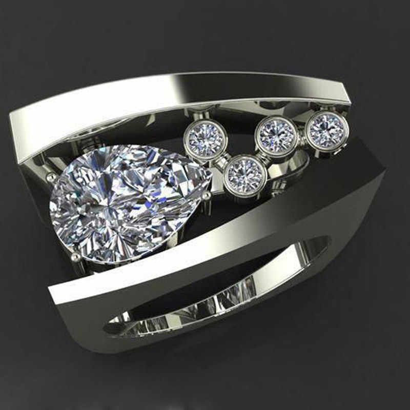 Unique Female Male Geometric Ring Silver Color White Water Drop Crystal zircon Wedding Band Engagement Rings For Women