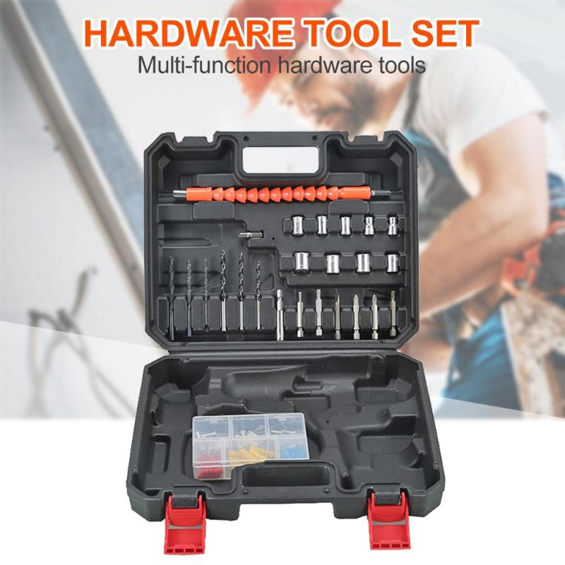 25pcs Toolbox Set Electric Drill Bit Sleeve Multi-function ABS Case Durable Practical Connecting Rod Hardware Tool Set