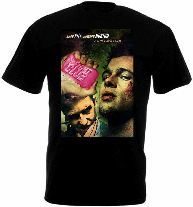 Fight Club V1 T Shirt Black Movie Poster All Sizes S-3XL Sportswear Active Tee Shirt