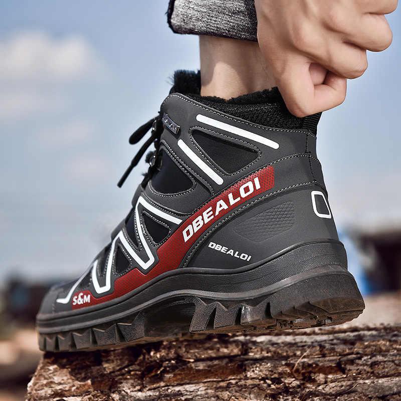2019 Erkek Botları Kış Peluş sıcak Kar Botları Rahat Erkekler Kış Solomon yürüyüş ayakkabıları erkek ayakkabı yarım çizmeler Zapatos De Hombre