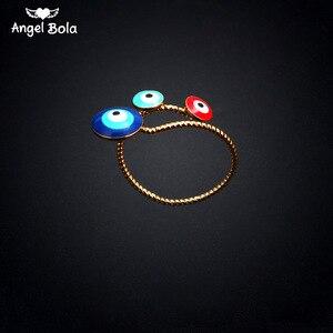 Lucky Allah Eye Кольцо с красным и синим злом золотого цвета, Открытое кольцо для женщин, женские регулируемые Свадебные мусульманские украшения