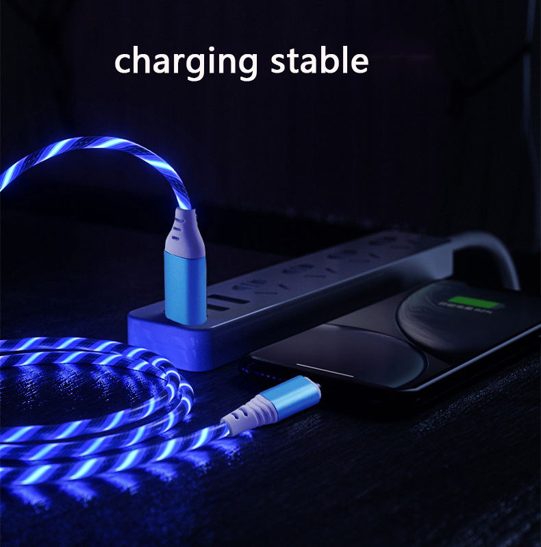 1m usb phone charging cable flowing light charging cord led wire for micro usb type c