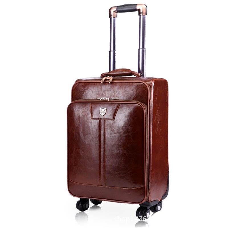 BeaSumore мужские чемоданы на колесиках из искусственной кожи, 24 дюйма, ретро-колесо, чемоданы, 16/20 дюймов, тележка, пароль, дорожная сумка - Цвет: 20 inch