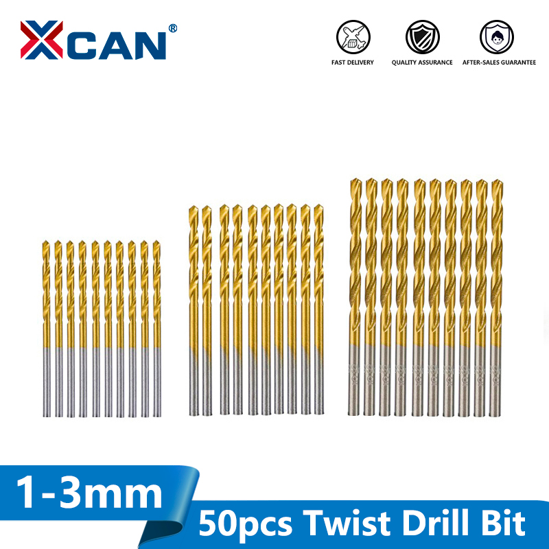 XCAN 50pcs HSS Twist Drill Bit Set Titanium Coated Gun Drill Bit For Wood Metal Drilling Mini Drill Bit 1.0/1.5/2.0/2.5/3.0mm