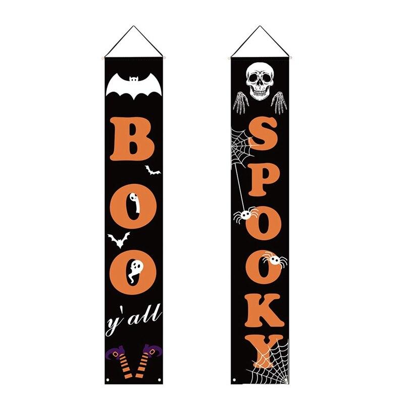 Halloween banner interior ao ar livre decorativo pendurado sinal para escritório em casa porta da frente varanda bem-vindo decorações de halloween
