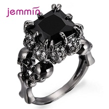 Black Vintage Skull Shaped 925 Sterling Silver Rings For Women CZ Cubic Zirconia Fashion Jewelry Hot Sale Europe Party
