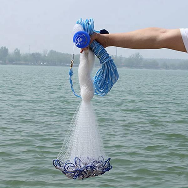 14Ft 4.2M Fishing Net Bait Easy Throw Hand Cast Strong Nylon Mesh Sinker