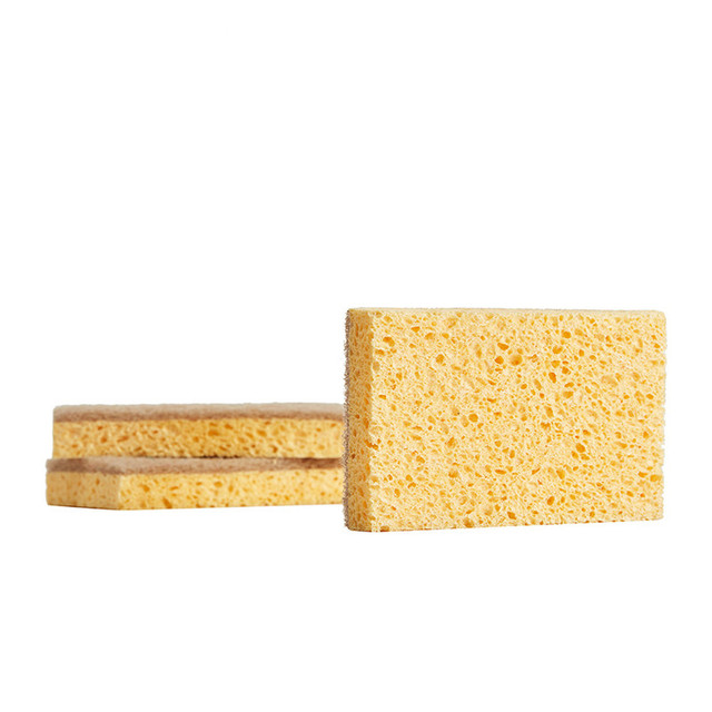 Japan 2pc Dishwashing Sponge Natural Anti Oil Kitchen Wood Pulp Magic Sponge Scrubber Dish Bowl Cleaning Brush 5