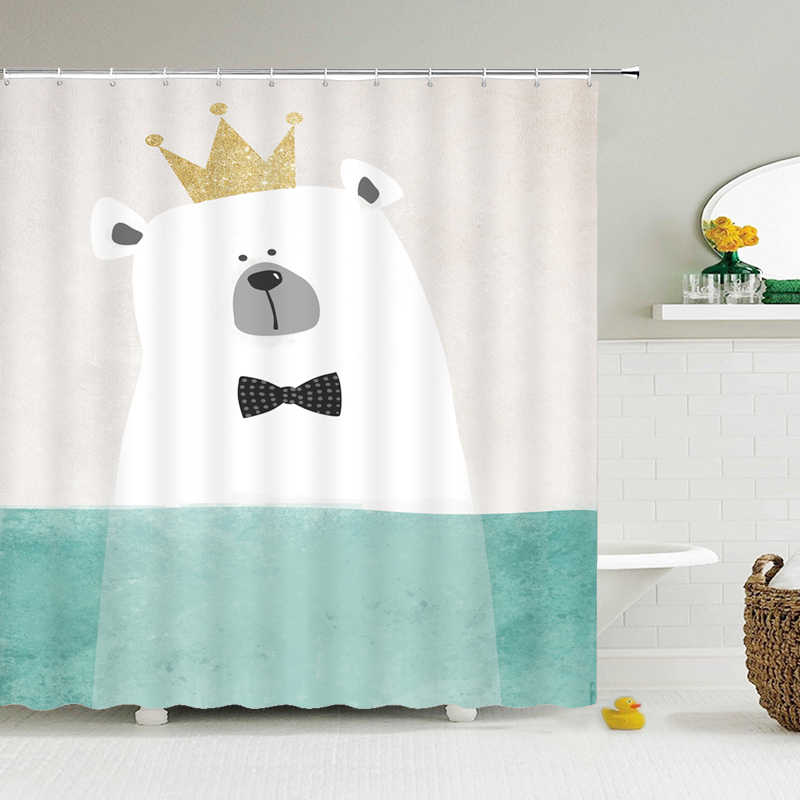 Cartoon Crown Bar Dusche Vorhang Bad Bildschirm Kinder Badezimmer Vorhange Wasserdicht Polyester Hause Dekoration Mit Haken Duschvorhange Aliexpress