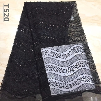 African Lace Fabric 2019 Black High Quality Beads with Embroidery Nigerian Lace Fabric For Women French Mesh Lace Fabric