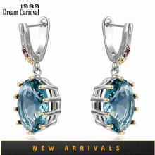 DreamCarnival1989 Big Blue Drop Earrings for Women Delicate Cut Dazzling Zircon White Gold Plated Bridal Gothic Jewelry WE4034BL