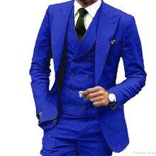 Royal Blue Wedding Suits For Men Formal Prom Groom Blazer 3 Pieces Suit Man Cust