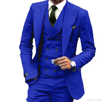 Royal Blue Wedding Suits For Men Formal Prom Groom Blazer 3 Pieces Suit Man Custom Made Mens Suits With Pants costume mariage