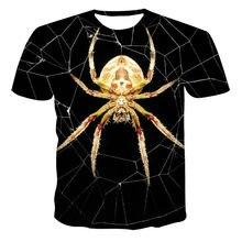 Camiseta casual de manga corta con estampado de patrón 3D único con personalidad de araña