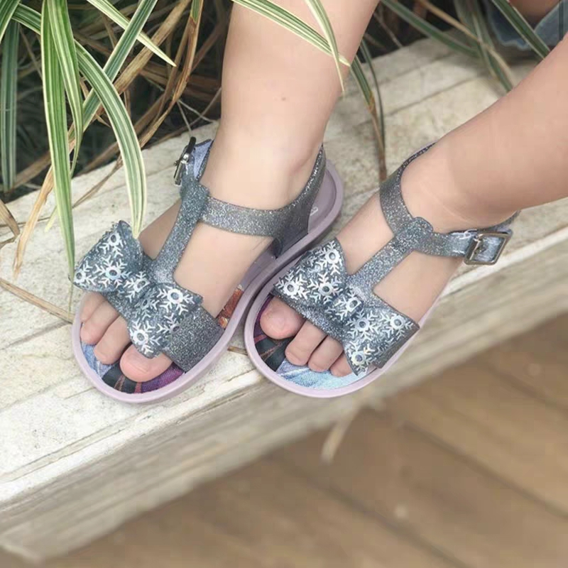 Mini Melissa Lovely Bow Girl Jelly Shoes Beach Sandals 2020 New Baby Shoes Soft Melissa Sandals Kids Non-slip Princess Shoes