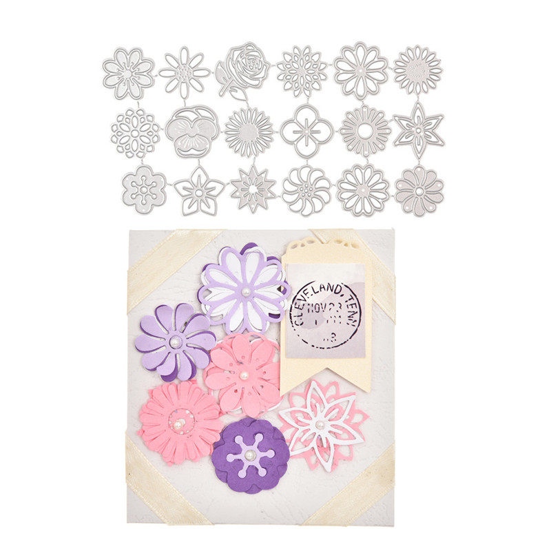 YaMinSanNiO 18pcs/lot Flower Metal Cutting Dies For Scrapbooking Stencil DIY Paper Card Decor Embossing Folder Die Cuts Template