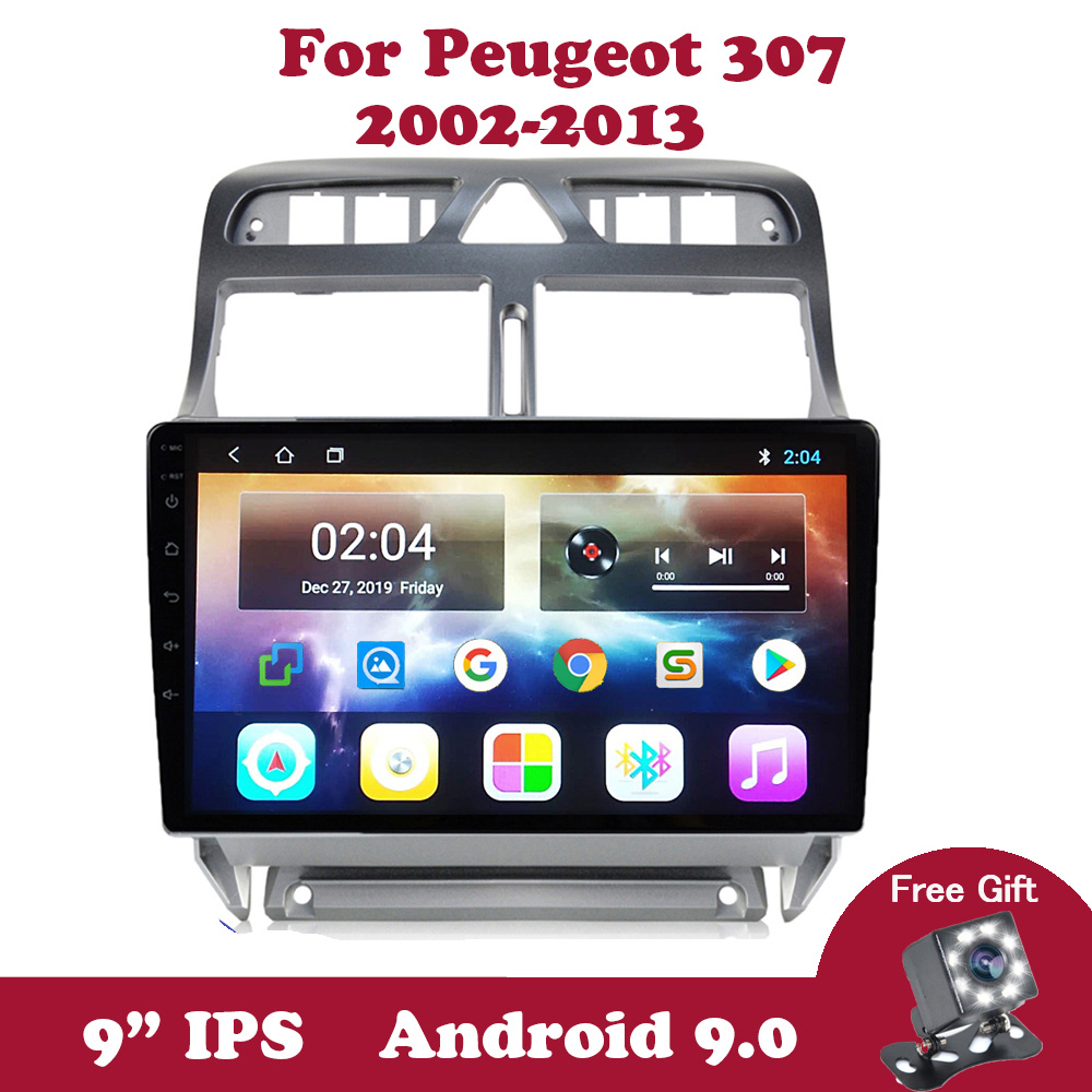 Android 9.0 IPS 9 inch Touchscreen Car <font><b>Radio</b></font> <font><b>For</b></font> <font><b>Peugeot</b></font> <font><b>307</b></font> 2002 - 2008 - 2013 <font><b>2din</b></font> Multimedia Video Player Navigation GPS DVD image