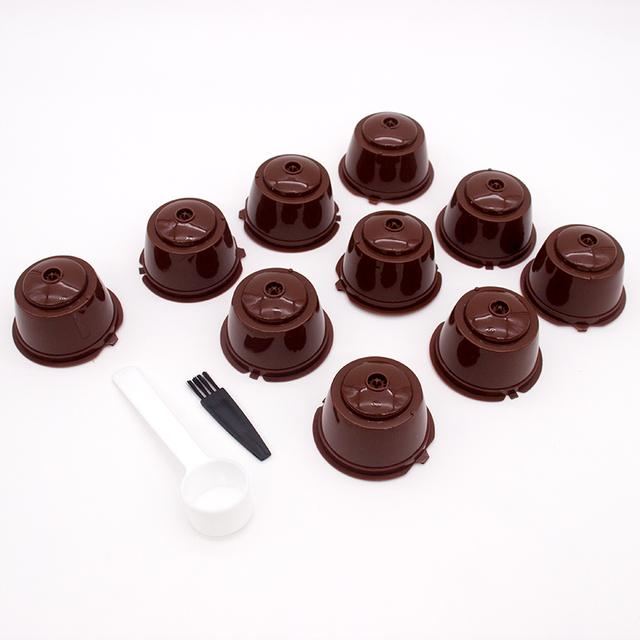 10PCS Refillable Coffee Capsules for DOLCE GUSTO Coffee Pods Reusable Coffee Filter Plastic with Spoon Brush High Quality