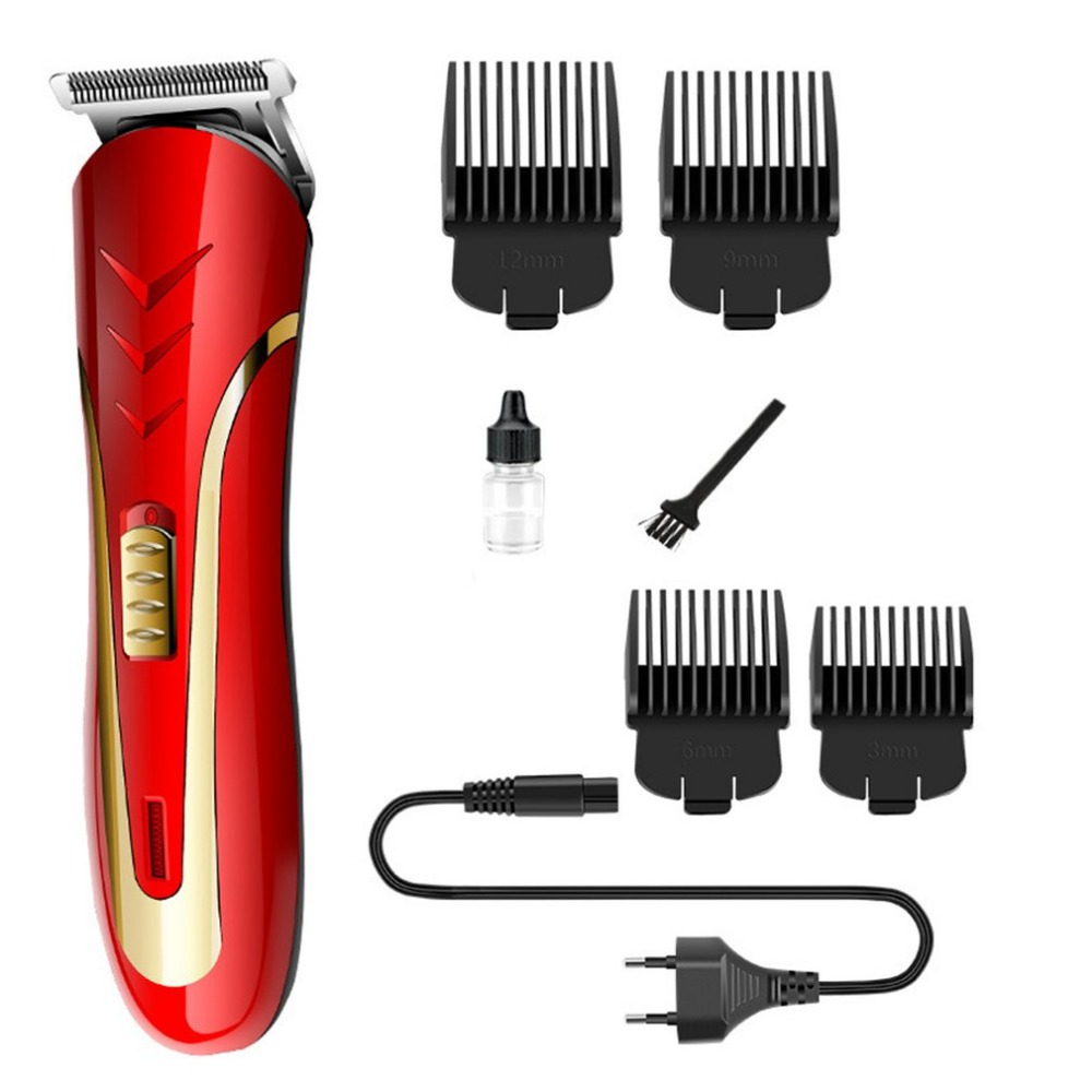 KEMEI KM-1409 Carbon Steel Head Hair Trimmer EU Plug Rechargeable Electric Razor Men Beard Shaver Electric Hair Clipper