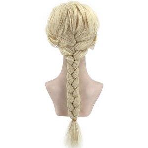 Image 2 - VICWIG קוספליי פאות 26 אינץ זהב קוקו סינטטי צמת שיער לנשים גריי פאה עמיד בחום עלה נטו
