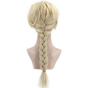 Image 2 - VICWIG Cosplay Wigs 26Inch Golden Ponytail Braid Synthetic Hair for Women Grey Wig Heat Resistant Rose Net