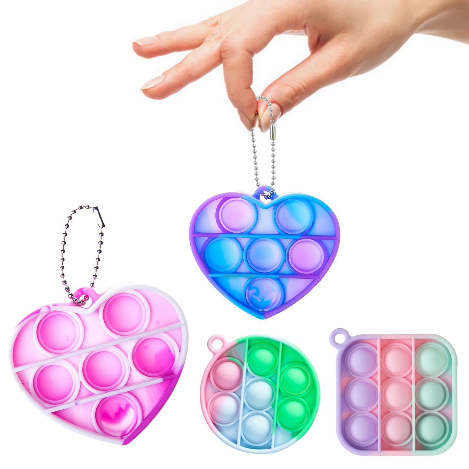 Fidget Sensory Toy Mini Popit Pops Push Bubble Figet Simple Dimple Toy Keychain Ring Anti stress Board Autism Educational Toy