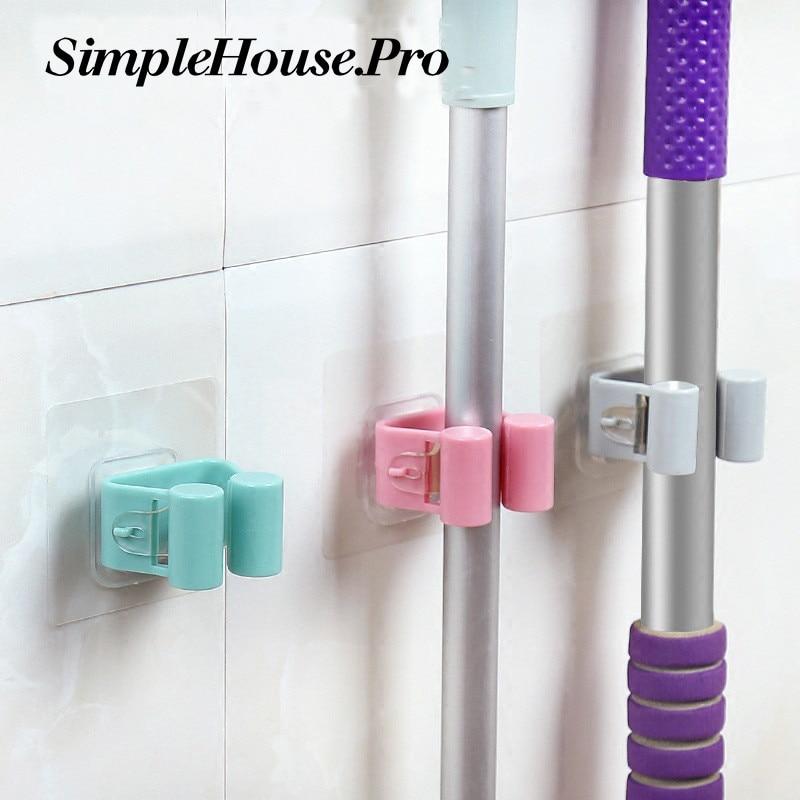 1PC Wall Mounted Mop Rack Hook Bathroom Mop Sticky Hanger Clip Mop Shelf Holder  Home Kitchen Organizer Storage Holders Racks
