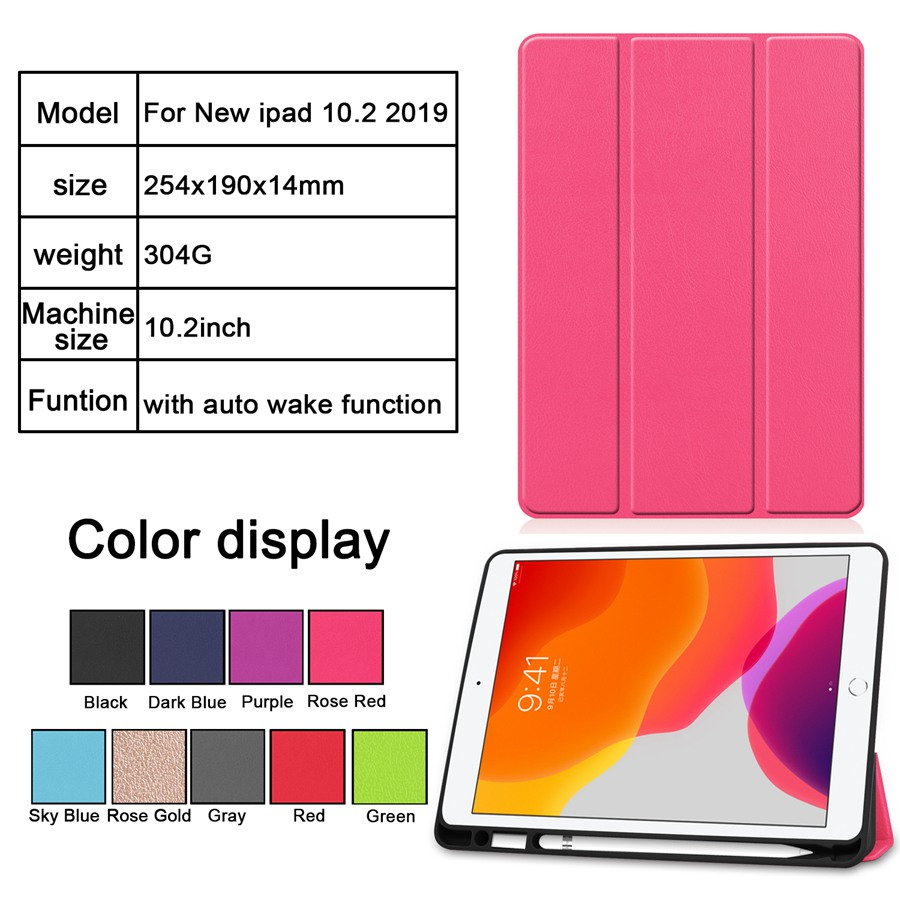 Film--Pen iPad A2200/A2198/A2232 7th Case Apple Cover Pencil-Holder with for Slim Slim