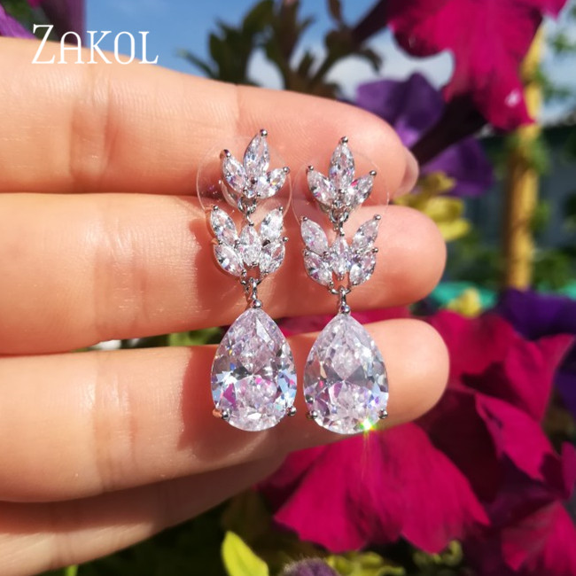 ZAKOL Romantic Bridal Wedding Accessories Jewelry Exquisite Teardrop Cubic Zircon Leaf Dangle Earrings with Rose Gold FSEP012