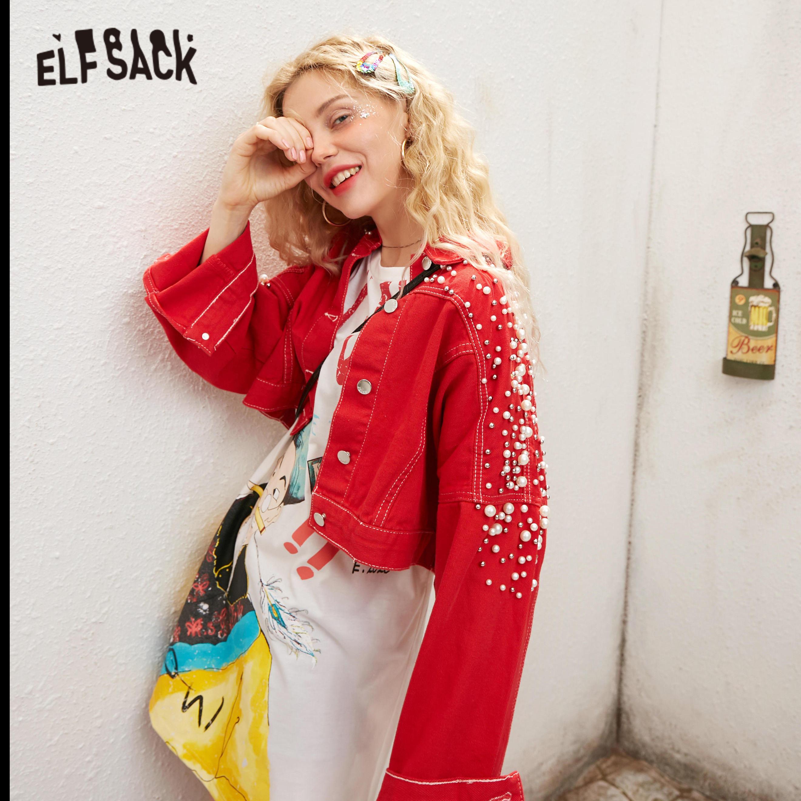 ELFSACK White Solid Pearls Beaded Casual Women Short Denim Jacket 2020 Spring Red Vintage Single Breasted Korean Ladies Outwears