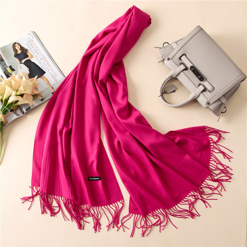 Women solid color cashmere scarves with tassel lady spring and winter thin scarf high quality female shawl hot sale hijab scarf(China)