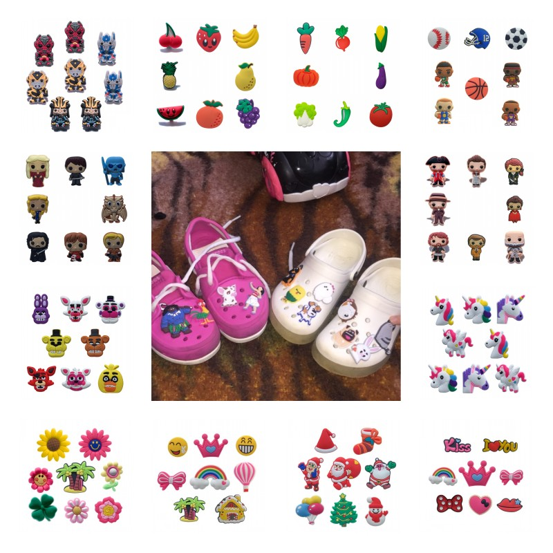 10PCS Avengeres Batman Super Mario Crystal PVC Shoe Charms Shoes Buckles Accessories Fit Bands Bracelets Croc JIBZ Kids Gift