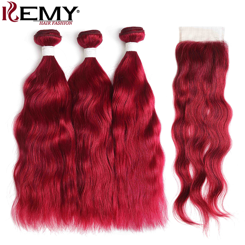 99J/Burgundy Human Hair Bundles With Closure 4x4 Non-Remy Red Color Brazilian Natural Wave Human Hair Bundles 3 PCS KEMY HAIR