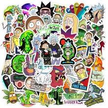 10/50 pçs dos desenhos animados anime rick e morti adesivo à prova dwaterproof água skate mala de viagem telefone portátil mala etiqueta bonito do miúdo brinquedo