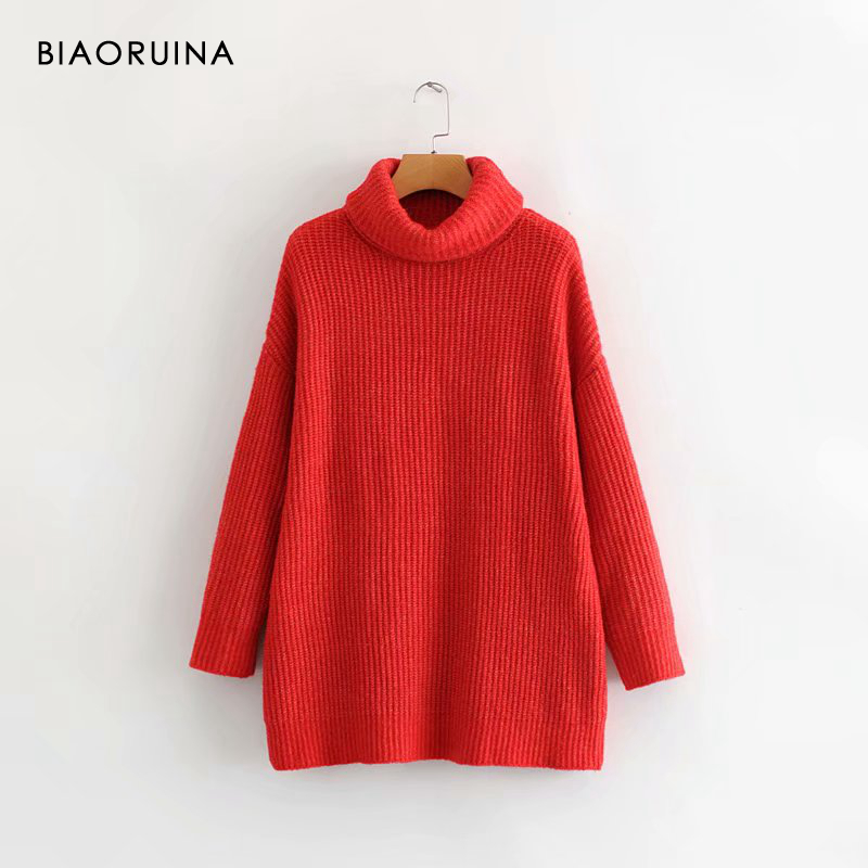 REJINAPYO 15 Color Women Fashion Solid Casual Knitted Sweater Female Turtleneck Oversized Pullover Ladies Elegant Loose Sweater 10