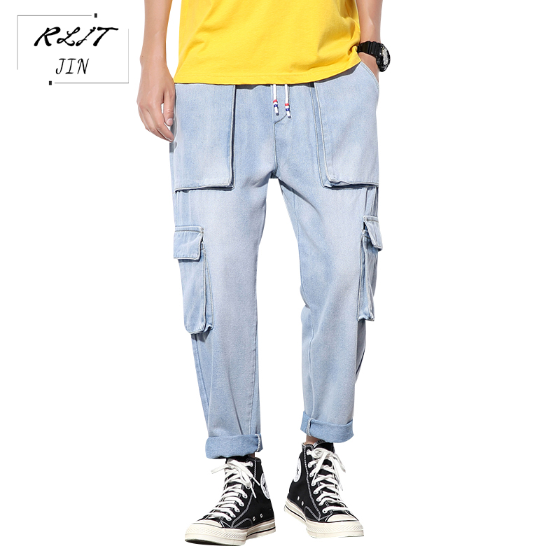 RLJT.JIN Trend Direction 2019 Autumn New Style Japanese Simple Style Jeans Mens Harajuku Casual Cargo Pants Lots Of Pockets