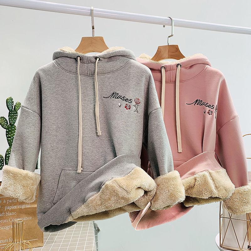 Lamb velvet sweatshirt women's hoodies hooded 2020 new Korean style loose long-sleeved jacket plus velvet winter clothes 1