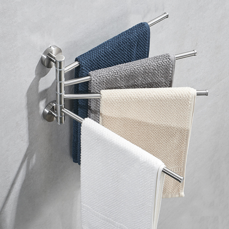 1000000304 Stainless Steel Wire Drawing Activity Rotating Towel Bar Towel Rack Bathroom Toilet Towel Rod|  - title=