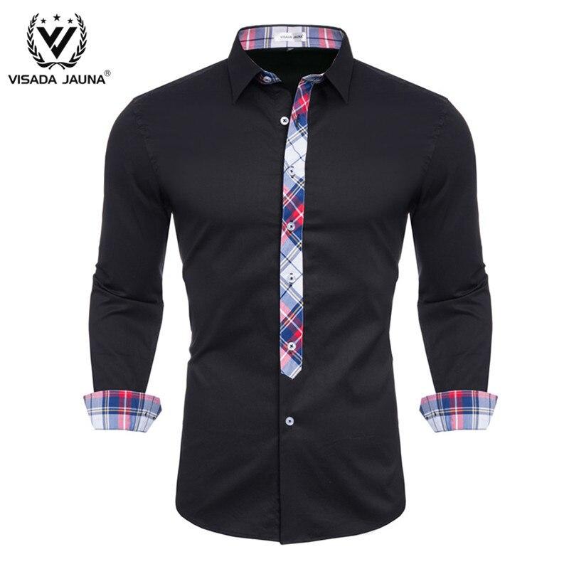 VISADA JUANA 2019 Men's Shirts Slim Fit Men's Casual Shirts Long Sleeve Formal Dress Shirts Men Clothes Y55