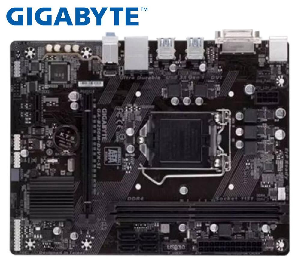 Desktop Motherboard Gigabyte GA-B250M-D2VX SI B250  For Intel DDR4 LGA 1151 32GB USB3 .0 SATA3.0 Used B250M-D2VX SI Mainboard