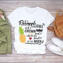 Casual piña acuarela fruta camisetas mujeres harajuku Linda camiseta vintage de manga corta Camiseta blanca impresión gráfica personalizada
